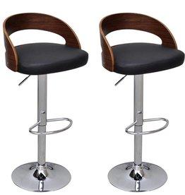 vidaXL Barkrukken verstelbaar met gebogen houten frame bruin 2 st