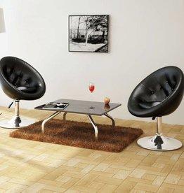 vidaXL Loungestoelen Chesterfield kunstleer zwart 2 st