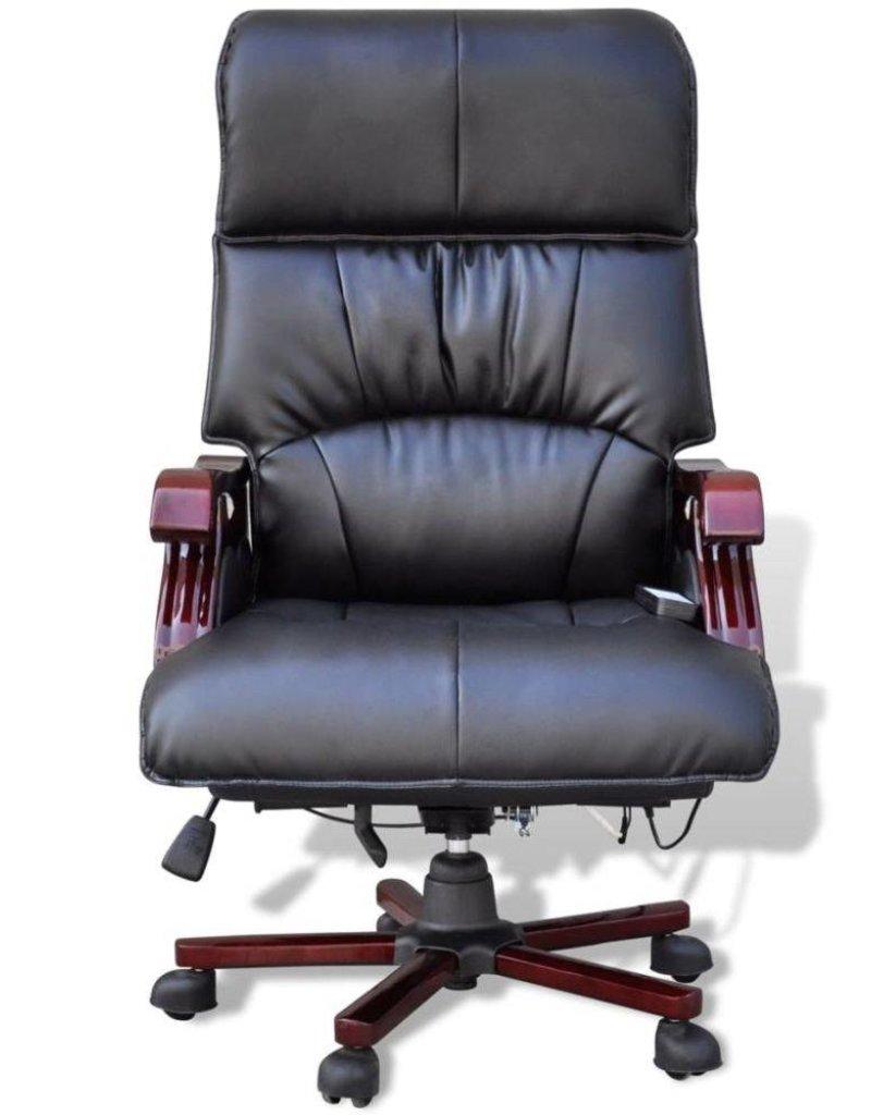 vidaXL Luxe lederen bureaustoel met 9 massagefuncties (zwart)