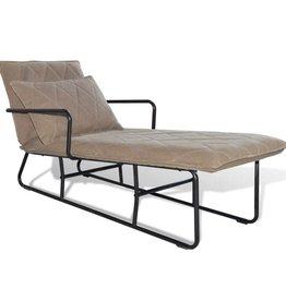 vidaXL Chaise longue met ijzeren frame en stof lichtbruin