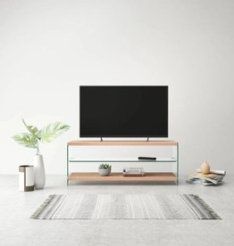 vidaXL Tv-meubel hoogglans glas MDF eikenkleur