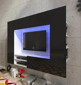 vidaXL Wandmeubel zwart hoogglans led voor tv 169,2 cm
