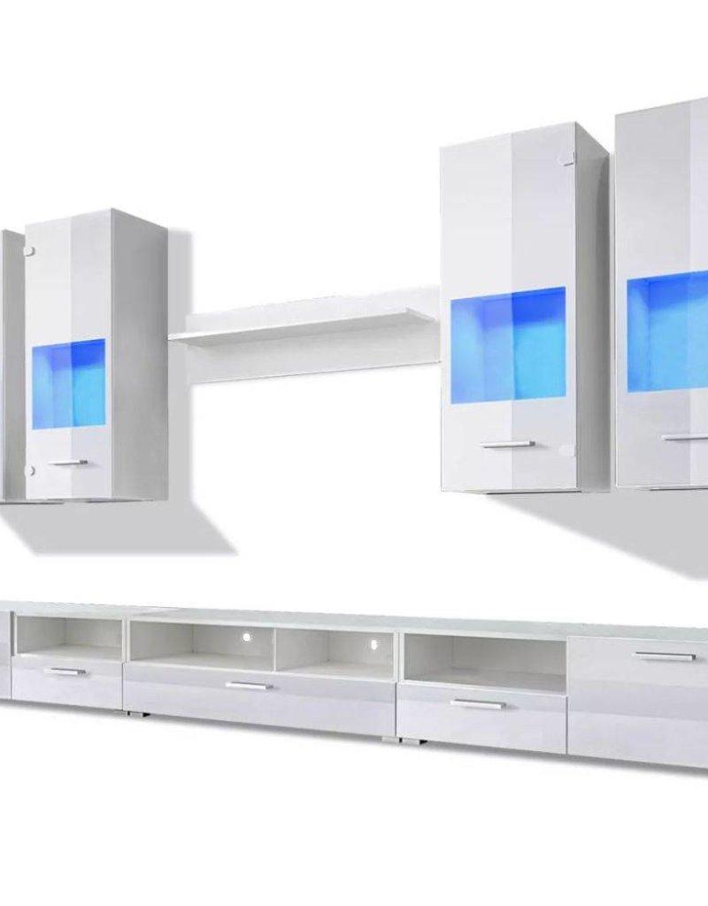 vidaXL Wandkasten tv-unit wit hoogglans met blauwe led-verlichting 8 st