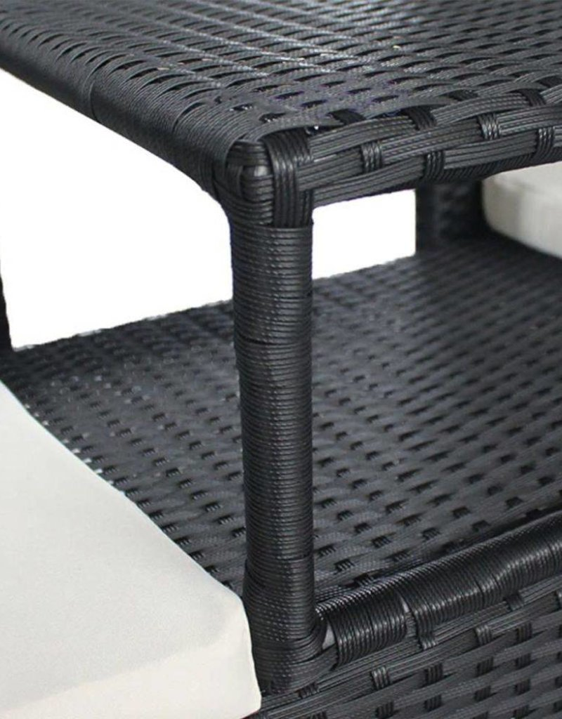 vidaXL 2-zitsbank met tafel poly rattan zwart