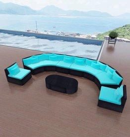 vidaXL Loungeset poly rattan tropisch blauw
