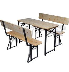 vidaXL Biertafel met 2 bankjes inklapbaar 118 cm naaldhout