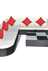 vidaXL Loungeset poly rattan zwart 27-delig