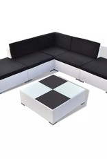 vidaXL Poly Rattan loungeset 15-delig wit