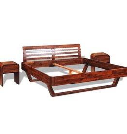 vidaXL Bedframe met 2 nachtkastjes 180x200 cm massief acaciahout