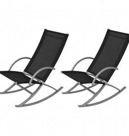 vidaXL Schommelstoelen voor buiten zwart 2 st