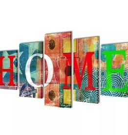 vidaXL Canvasdoeken kleurrijk huis 200 x 100 cm
