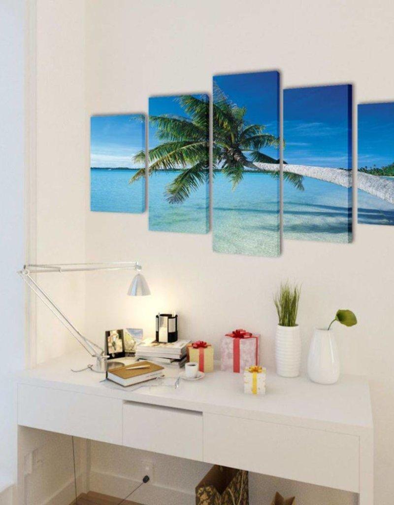 vidaXL Canvasdoeken zandstrand met palmboom 200 x 100 cm