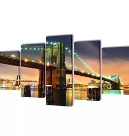 vidaXL Canvasdoeken Brooklyn Bridge 200 x 100 cm
