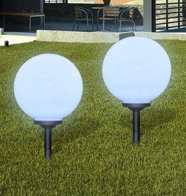 vidaXL Buitenverlichting op zonne-energie (balvormig) LED 30 cm 2 st