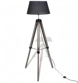 vidaXL Staande lamp met verstelbaar statief en stoffen kap hout zwart