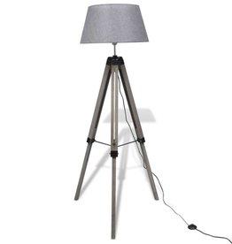 vidaXL Vloerlamp met verstelbare voet hout en stoffen lampenkap grijs