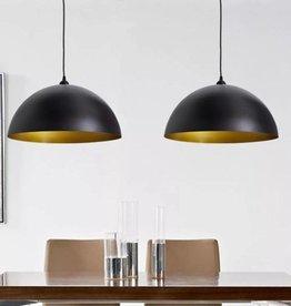 vidaXL Plafondlampen in hoogte verstelbaar halfrond zwart 2 st