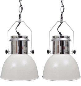 vidaXL Plafondlampen in hoogte verstelbaar modern metaal wit 2 st