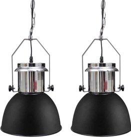 vidaXL Plafondlampen in hoogte verstelbaar modern metaal zwart 2 st