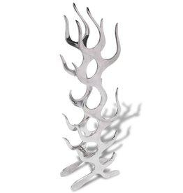 vidaXL Wijnrek vlammenvorm 9 flessen zilver aluminium