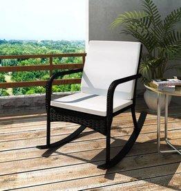 vidaXL Schommelstoel voor in de tuin poly rattan zwart