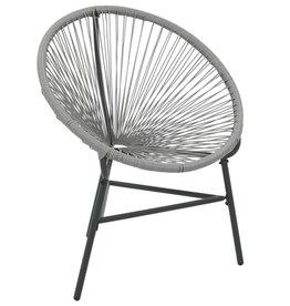 vidaXL Maanstoel voor in de tuin 69x66x87 cm poly rattan grijs