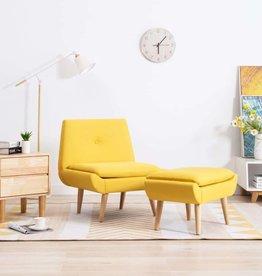vidaXL Fauteuil met voetensteun stoffen bekleding geel