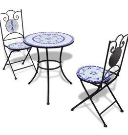 vidaXL Bistrotafel met 2 stoelen 60 cm mozaïek blauw/wit
