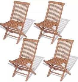 vidaXL Klapstoelen voor buiten massief teakhout 4 st