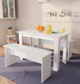 vidaXL Eettafel en banken spaanplaat wit 3 st