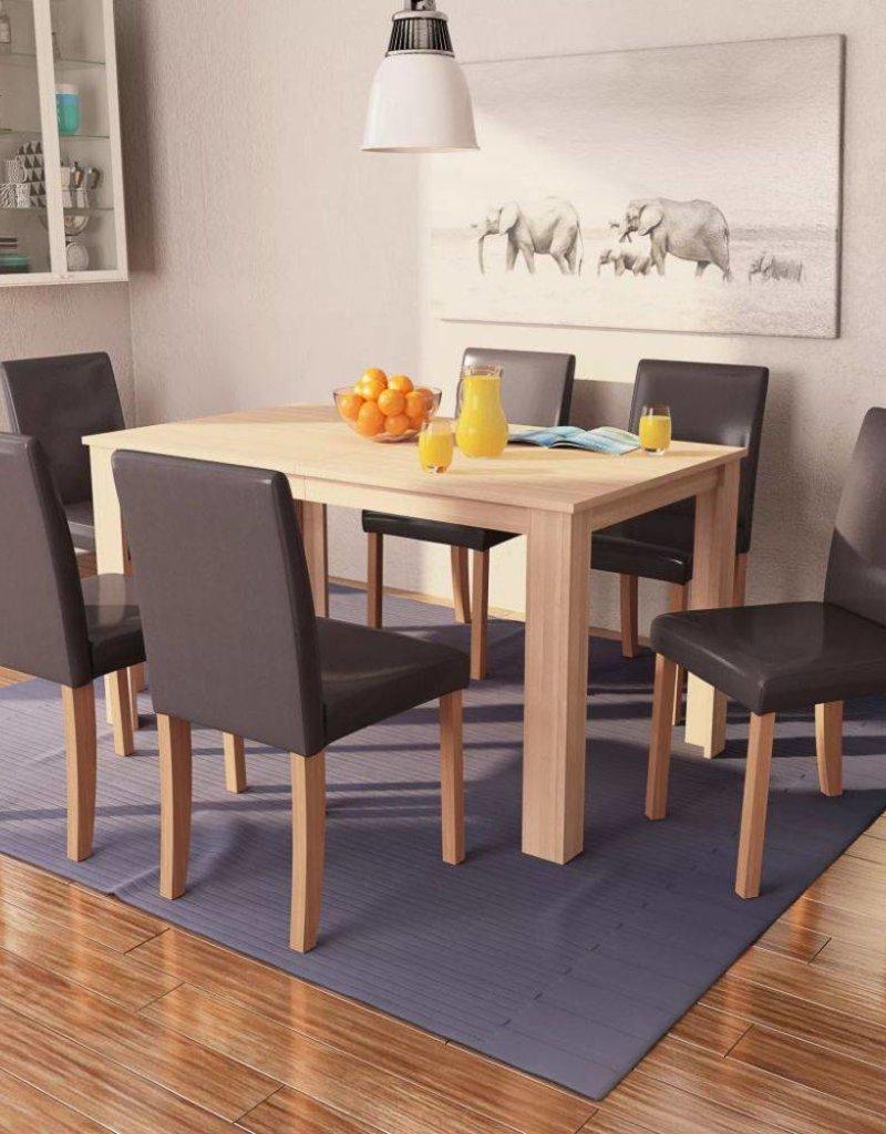 Eettafel Met Kuipstoelen.Vidaxl Eettafel Met Stoelen Kunstleer En Eikenhout Bruin 7 St