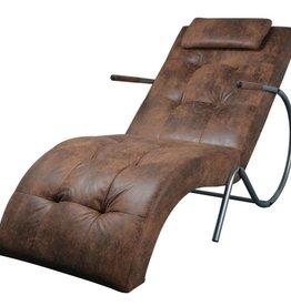 vidaXL Loungestoel met kussen suède-look stof bruin