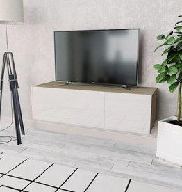 vidaXL Tv-kast 120x40x34 cm spaanplaat hoogglans wit en eikenkleur