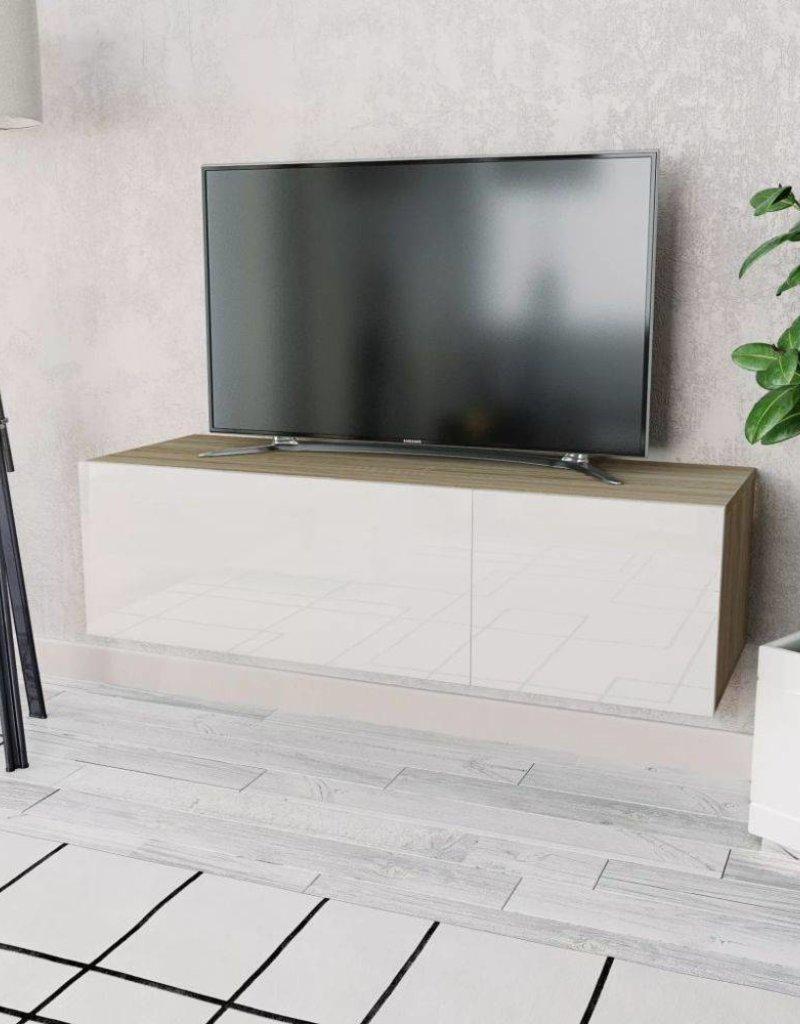 Tv Kast 120.Vidaxl Tv Kast 120x40x34 Cm Spaanplaat Hoogglans Wit En Eikenkleur