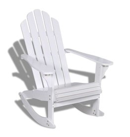 vidaXL Houten schommelstoel wit