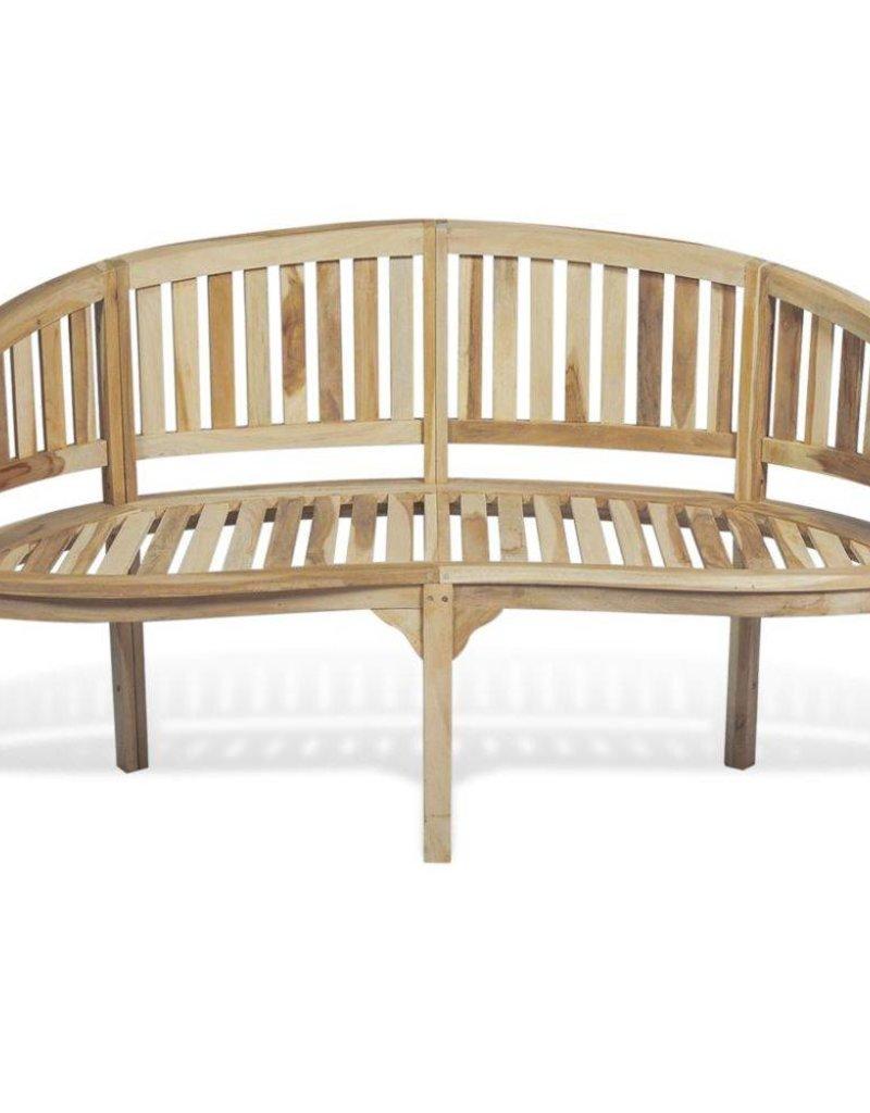 vidaXL Bankje met 3 zitplaatsen banaanvormig 151 cm teakhout