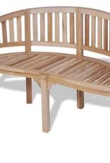 vidaXL Bankje met 2 zitplaatsen banaanvormig 120 cm teakhout