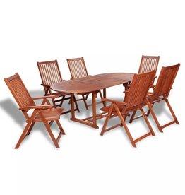 vidaXL Tuinset met verlengbare tafel acaciahout 7-delig