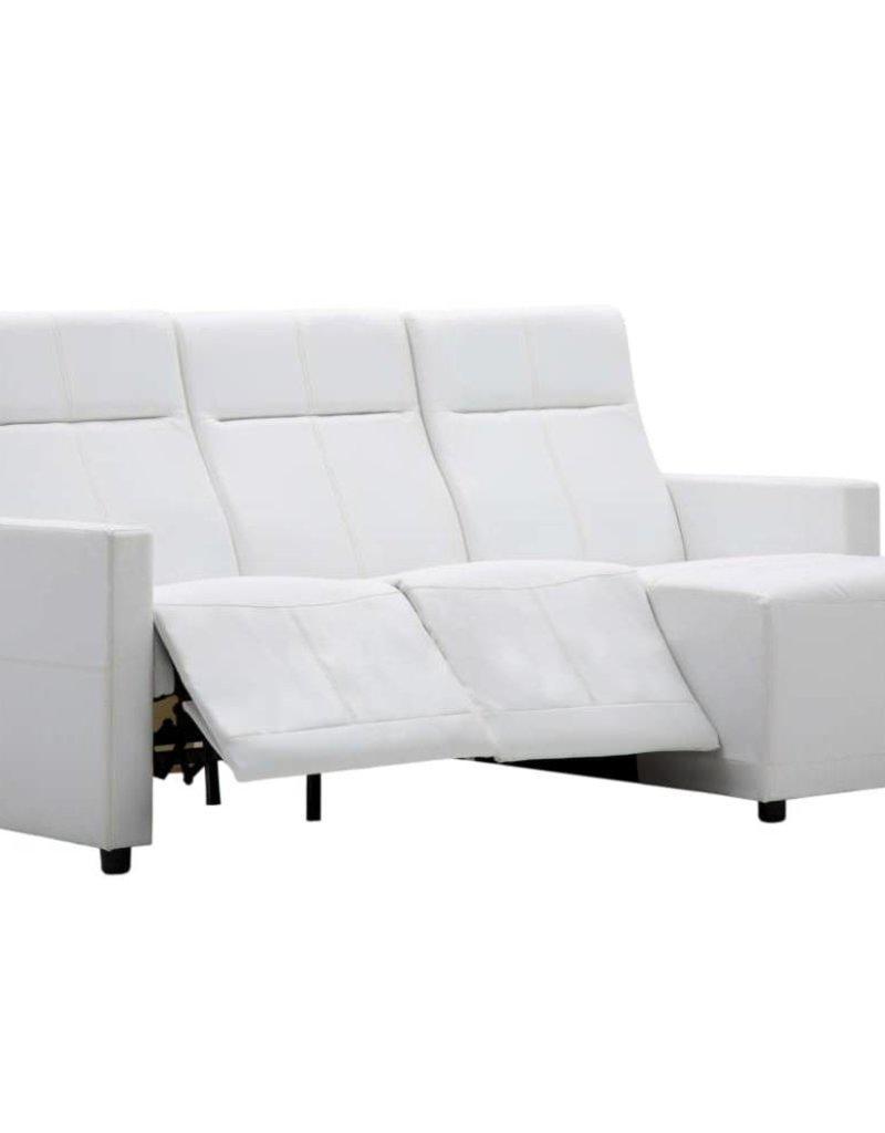 vidaXL Bank met verstelbare rugleuning L-vormig kunstleer wit