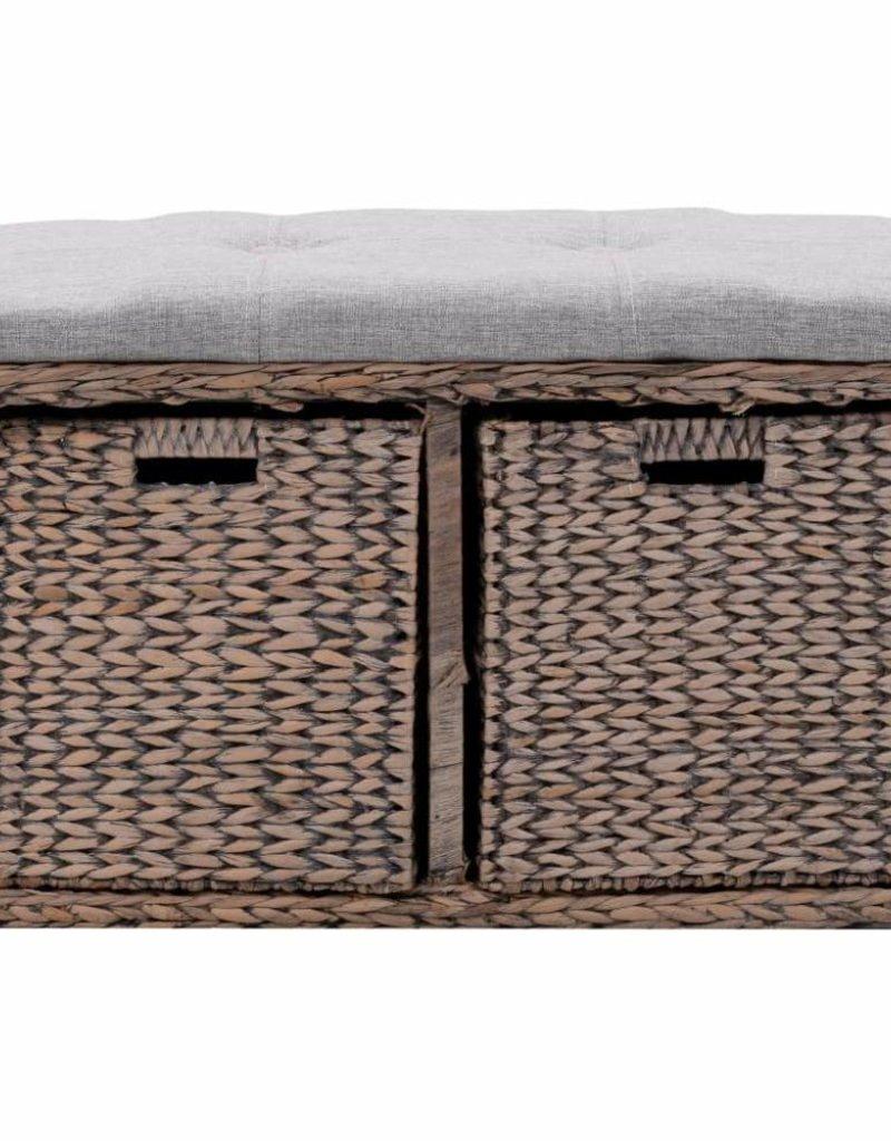 vidaXL Bankje met 2 manden 71x40x42 cm zeegras grijs