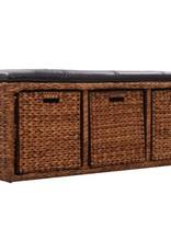 vidaXL Bankje met 3 manden 105x40x42 cm zeegras bruin
