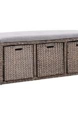 vidaXL Bankje met 3 manden 105x40x42 cm zeegras grijs