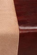 vidaXL Bankje 120x30x45 cm echt leer en canvas beige en bruin