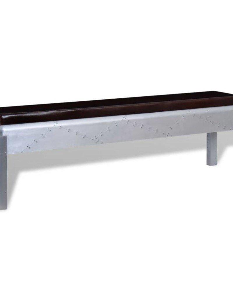 vidaXL Aviator bankje echt leer 160x32x45 cm