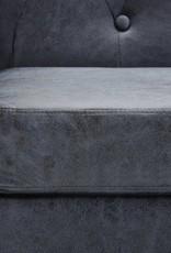 vidaXL Bank Chesterfield-stijl L-vorm kunstsuède grijs