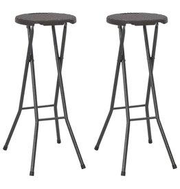 vidaXL Barstoelen inklapbaar rattan-look 35x44x80 cm HDPE bruin 2 st