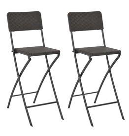 vidaXL Barstoelen inklapbaar rattan-look 45x63x114 cm HDPE bruin 2 st