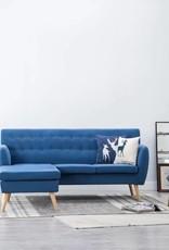 vidaXL Bank L-vormig 171,5x138x81,5 cm stof blauw