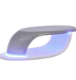 vidaXL Salontafel met LED glasvezel hoogglans wit en grijs