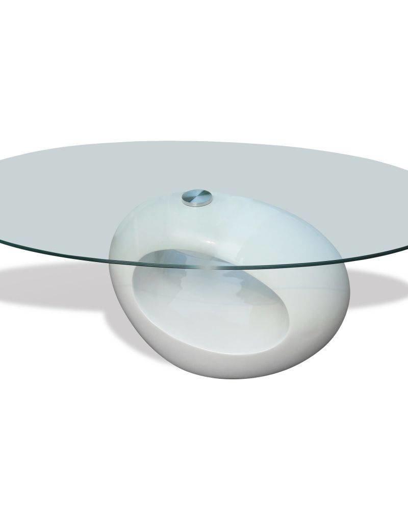 Glazen Salon Tafel.Vidaxl Salontafel Met Ovaal Glazen Tafelblad Hoogglans Wit